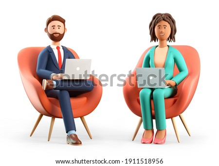 3D illustration of smiling bearded man and african american woman using laptops and sitting in chairs. Cute cartoon businessman and businesswoman working in office, isolated on white background.