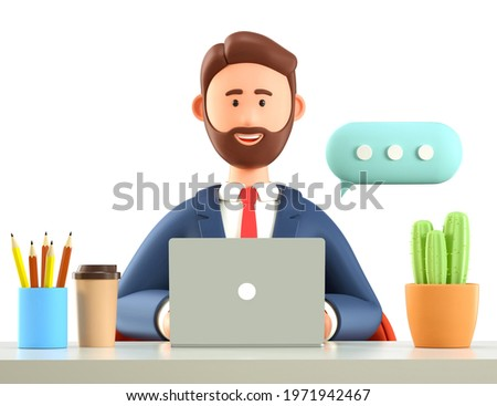 3D illustration of smiling bearded man with laptop in office, working at the desk with coffee cup, cactus. Cute cartoon businessman character chatting on the computer with big speech bubble.