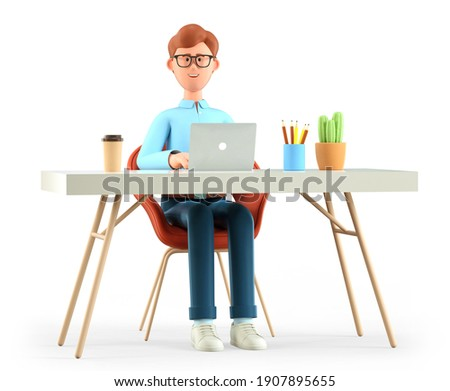 3D illustration of smiling cute man working at the desk in modern office. Cartoon happy businessman or freelancer using laptop, isolated on white background. Workplace concept.