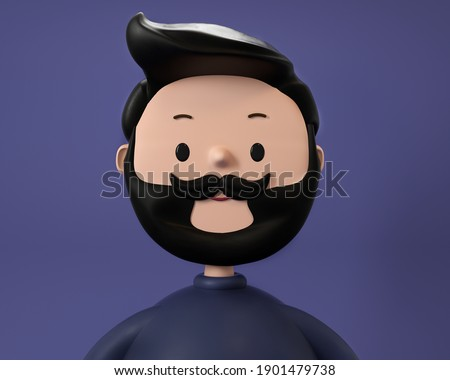 3D illustration of smiling happy hipster. Cartoon close up portrait of standing man on green background. 3D Avatar for ui ux.
