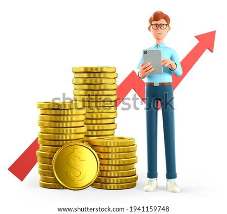 3D illustration of smiling man holding tablet and standing next to a huge stack of gold coins and rising arrow chart. Cartoon businessman, successful investor. Financial consulting, savings concept.