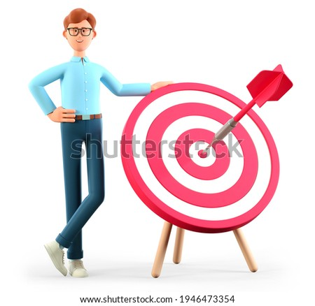 3D illustration of smiling man standing next to a huge target with a dart in the center, arrow in bullseye. Cute cartoon businessman reaching goals. Objective attainment, business purposes.