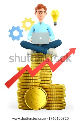 3D illustration of smiling man with laptop sitting on the huge stack of gold coins. Cartoon businessman, successful investor reaching financial goals. Bulb, gears and rising arrow. Savings concept.