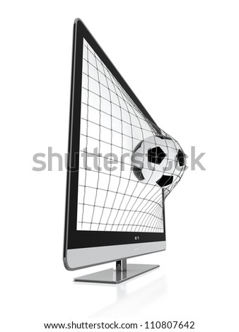 3D illustration of soccer ball and stereoscopic TV isolated on white