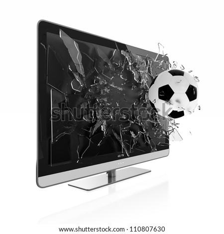 3D illustration of soccer ball breaking TV screen. Stereoscopic TV.
