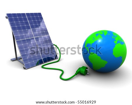 3d illustration of solar panel and earth globe, over white background