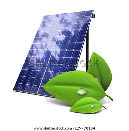 3d illustration of solar panel and green  leaf, eco energy concept