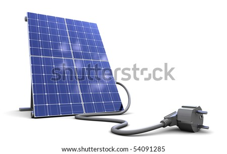 3d illustration of solar panel with power cord, over white background