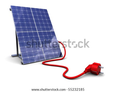 3d illustration of solar panel with power plug, over white background