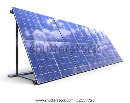 3d illustration of solar panels row over white background