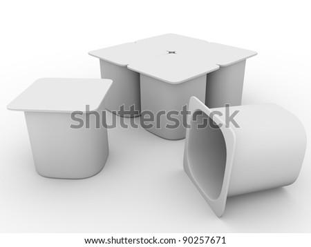 3d Illustration of some packs of yoghurt in white - stock photo