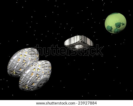 3d illustration of spaceships exploring a new world