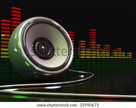 3d illustration of speaker and audio spectrum over dark background