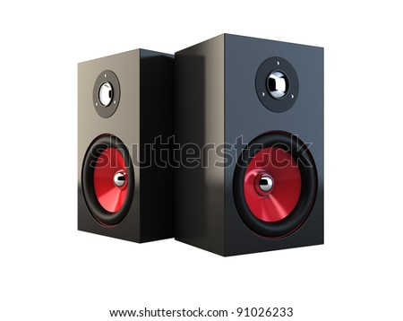 3d illustration of speakers isolated on white background