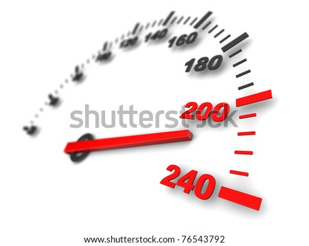 3d illustration of speed meter, fast