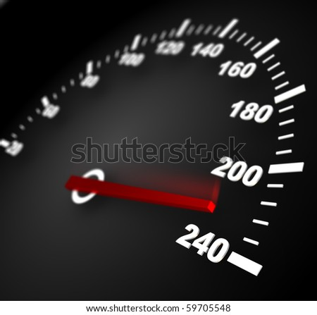 3d illustration of speedometer with moving arrow and high speed
