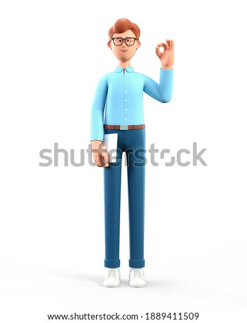 3D illustration of standing man with ok gesture showing. Cute cartoon smiling businessman with okay sign, holding tablet, isolated on white.