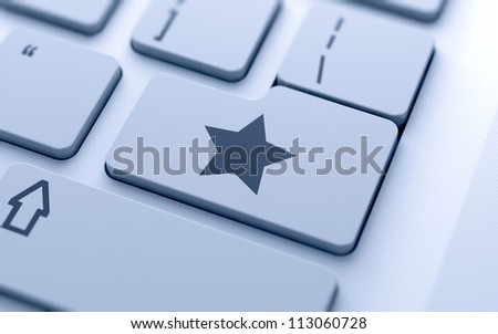 3d illustration of star sign button on keyboard with soft focus