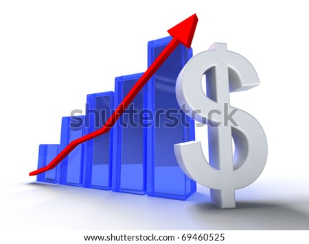 3d illustration of statistics and dollar symbol isolated in white