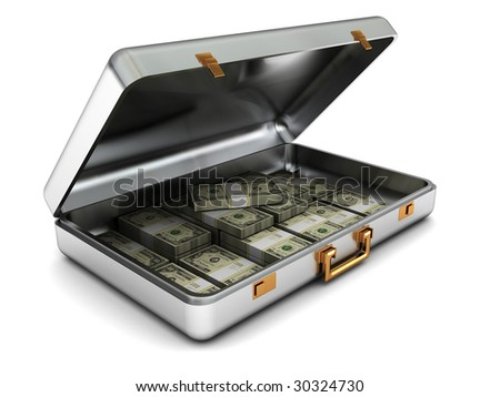 3d illustration of steel case with money over white background
