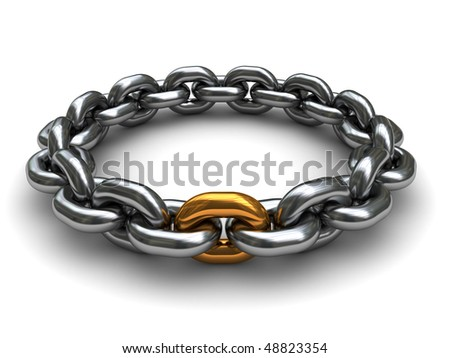 3d illustration of steel chain with one golden link