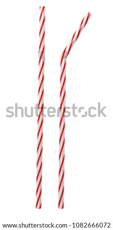 3D Illustration Of Striped  Cocktail straws #1082666072