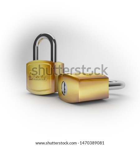 3d illustration of strong and strong security locks