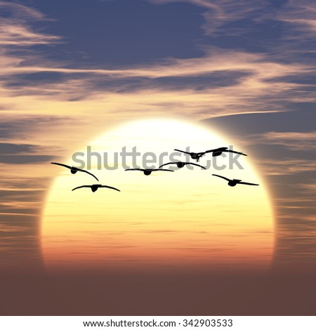 3D illustration of sunrise #342903533