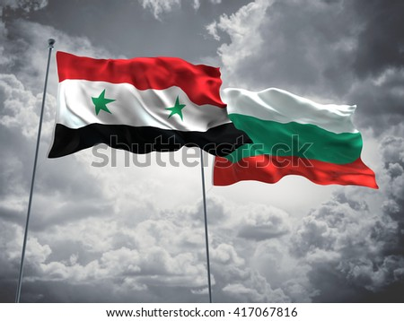 3D illustration of Syria & Bulgaria Flags are waving in the sky with dark clouds