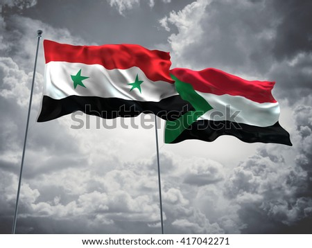 3D illustration of Syria & Sudan Flags are waving in the sky with dark clouds
