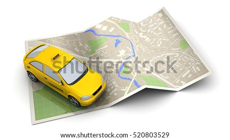3d illustration of taxi vehicle and map, over white background
