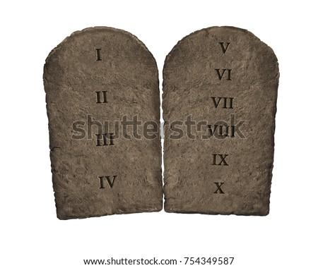 3D Illustration of Ten Commandments tablets