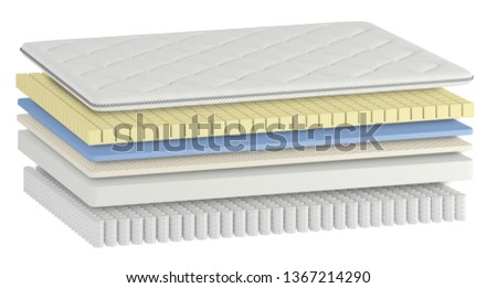 3D illustration of the contents of the mattress (layers) with pocket springs