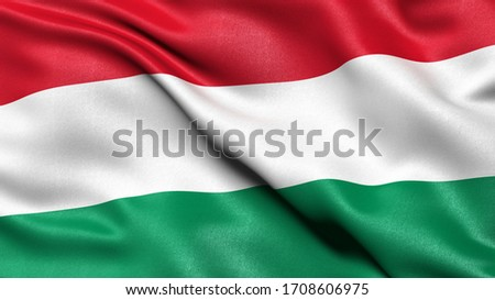 3D illustration of the flag of Hungary waving in the wind. Foto d'archivio ©