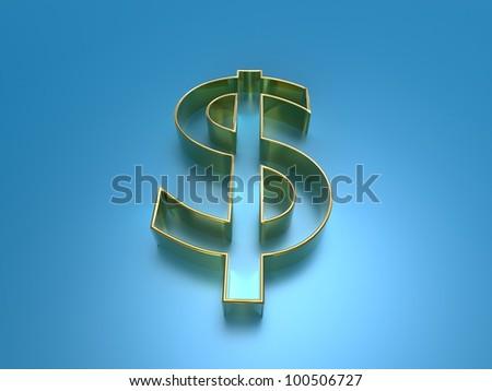 3d illustration of the golden dollar symbol on a blue background