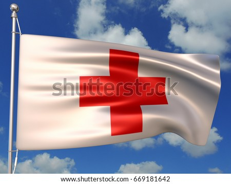 3D Illustration of the International Red Cross flag waving against blue sky
