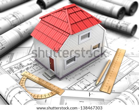 3d illustration of the model house with a red roof, drawings, rulers, pencil