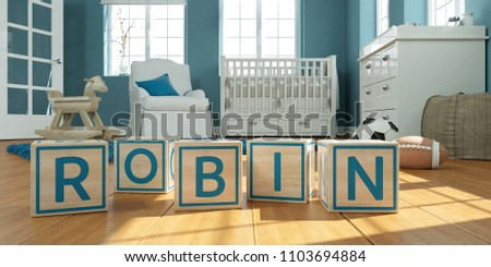 3D Illustration of the name robbin written with wooden toy cubes in children's room Stock fotó ©