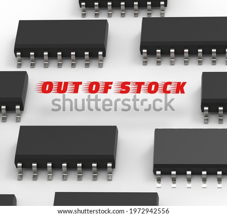 3D illustration of the semiconductor chips shortage and high price. Computer chips and spread of US dollars. The concept for the crisis in the industry in the United States and China  Stockfoto ©