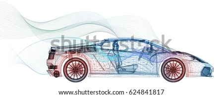 3D Illustration of The Sport Automobile's Wind Tunnel Testing