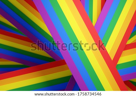 3D illustration of the stripes LGBT community flag. The concept of LGBT community, pride. The rainbow pride flag includes lesbian, gay, bisexual and transgender LGBT flag organizations.