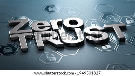 3D illustration of the text zero trust over black background with padlock shapes in relief. Concept of network security. Foto d'archivio ©