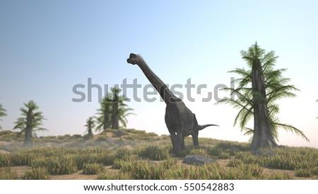 Stock Photo 3d illustration of the walking brachiosaurus