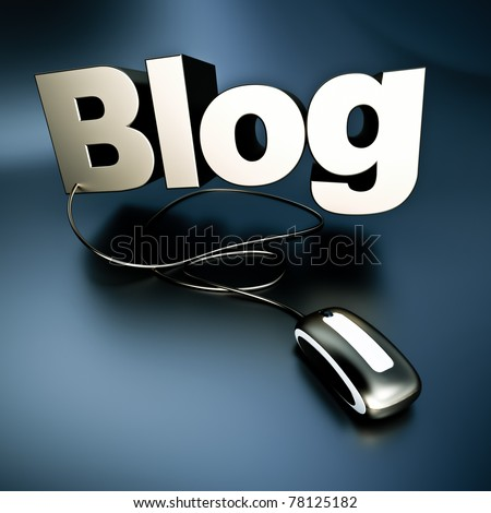 3D illustration of the word Blog in silver connected to a mouse. - stock photo