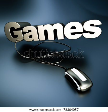 3D illustration of the word games in silver connected to a computer mouse