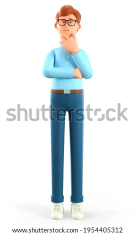 3D illustration of thinking man pondering making decision. Cute cartoon pensive businessman solving problems, feeling concerned puzzled lost in thoughts. Searching and finding a solution concept.