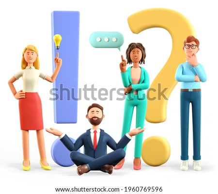3D illustration of thinking people with huge exclamation and question marks in support center. Multicultural women and men asking questions and receiving answers. Frequently asked questions concept.
