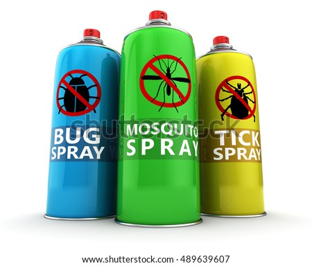 3d illustration of three different insecticide bottles Foto d'archivio ©