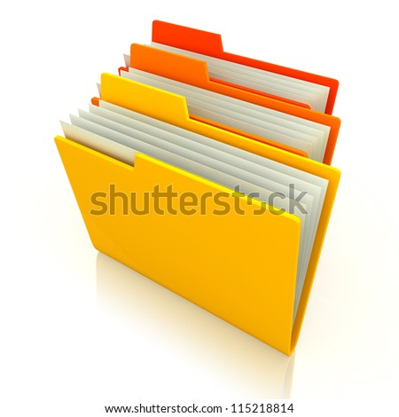 3d illustration of three folders with paper, over white background