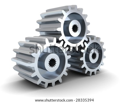 3d illustration of three gear wheels over white background